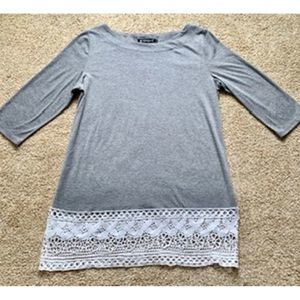Allegra K women Large gray lace top